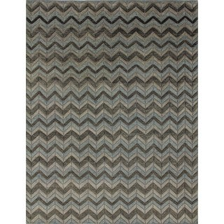Indo Moroccan Grey/Light Blue Hand-knotted Rug (8'1 x 10')