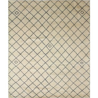 Indo Moroccan Sayra Ivory/Blue Wool Rug (8'3 x 10'0)
