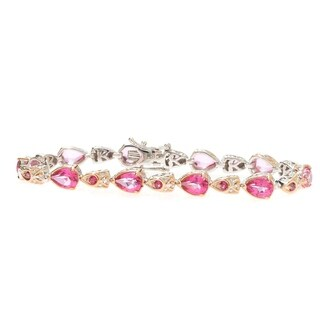 Michael Valitutti Palladium Silver Pear and Pink Topaz Line Bracelet with Slide Insert Clasp