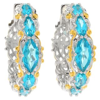 Michael Valitutti Palladium Silver Marquise Paraiba Color Topaz Five-Stone Hoop Earrings