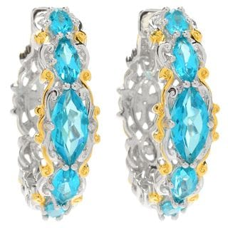 Michael Valitutti Palladium Silver Marquise Paraiba Color Topaz Five-Stone Hoop Earrings