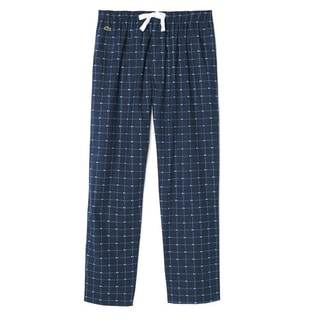 Lacoste Men's Croc-print Navy Cotton Lounge Sleep Pants