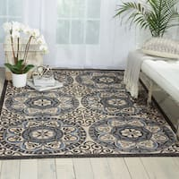 Nourison Caribbean Ivory/ Charcoal Indoor/ Outdoor Area Rug - 9'3 x 12'9