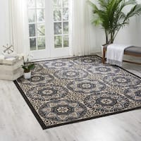 Nourison Caribbean Ivory/ Charcoal Indoor/ Outdoor Area Rug - 7'10 x 10'6