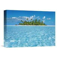 Global Gallery Frank Krahmer 'Tropical lagoon with palm island, Maldives' Stretched Canvas Artwork
