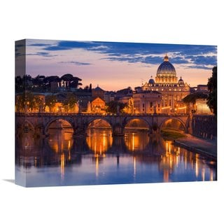 Global Gallery Anonymous 'Night view at St. Peter's cathedral, Rome' Stretched Canvas Artwork
