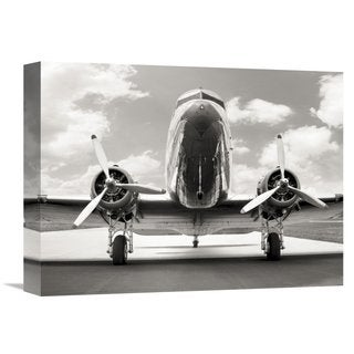 Global Gallery Anonymous 'Vintage DC-3 in air field' Stretched Canvas Artwork