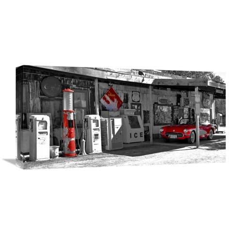 Global Gallery Vadim Ratsenskiy 'Vintage gas station on Route 66' Stretched Canvas Artwork