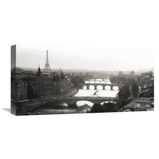 Global Gallery Michel Setboun 'Bridges over the Seine river, Paris' Stretched Canvas Artwork