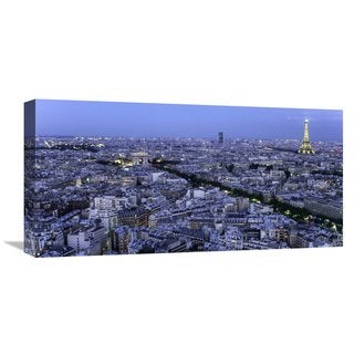 Global Gallery Michel Setboun 'Aerial view of Paris at dusk' Stretched Canvas Artwork