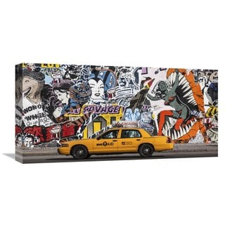 Global Gallery Michel Setboun 'Taxi and mural painting in Soho, NYC' Stretched Canvas Artwork
