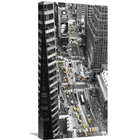 Global Gallery Michel Setboun 'Yellow taxi in Times Square, NYC' Stretched Canvas Artwork