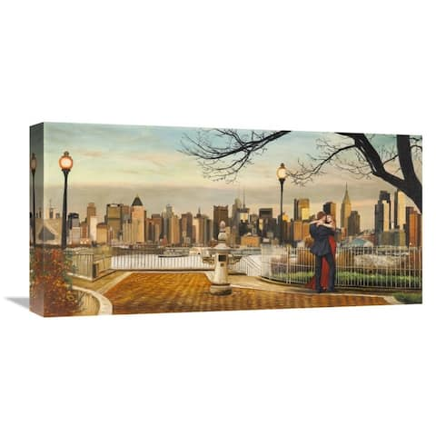Global Gallery Pierre Benson 'Lovers in New York' Stretched Canvas Artwork
