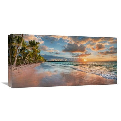 Global Gallery Pangea Images 'Beach in Maui, Hawaii, at sunset' Stretched Canvas Artwork