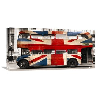 Global Gallery Pangea Images 'Union jack double-decker bus, London' Stretched Canvas Artwork