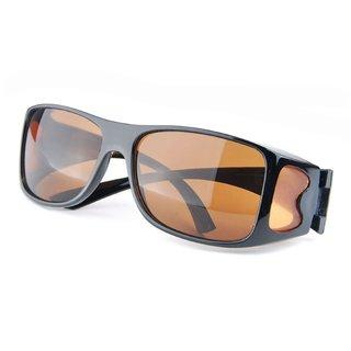 Black Unisex HD Night Vision Driving Wraparound Glasses