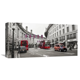 Global Gallery Pangea Images 'Buses and taxis in Oxford Street, London' Stretched Canvas Artwork