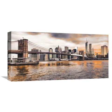 Global Gallery Pangea Images 'Brooklyn Bridge and Lower Manhattan at sunset, NYC' Stretched Canvas Artwork
