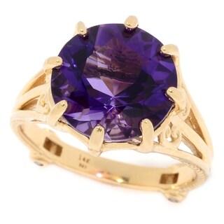 Michael Valitutti 14K Yellow Gold Congo Amethyst & Diamond Ring