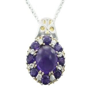 One-of-a-kind Michael Valitutti Palladium Silver Purple Jade, Amethyst and White Sapphire Pendant