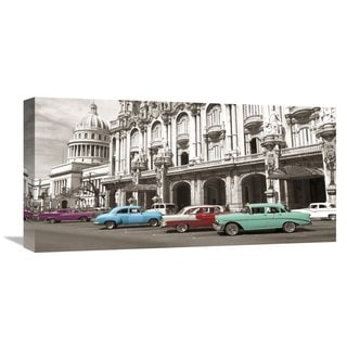 Global Gallery Anonymous 'Vintage American cars in Havana, Cuba' Gallery-wrapped Canvas
