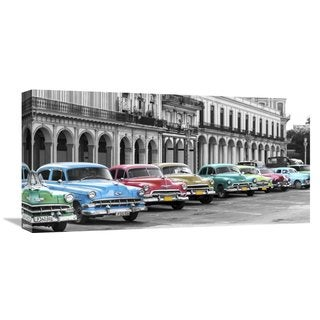 Global Gallery Pangea Images �Cars parked in line, Havana, Cuba� Stretched Canvas Artwork