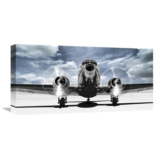 Global Gallery Gasoline Images Airplaine taking off in a blue sky Stretched Canvas Artwork