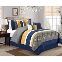 Cory Navy and Yellow 7 Piece Comforter Set