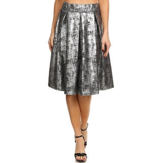 Women's Grey Polyester and Spandex Metallic-wash Skirt