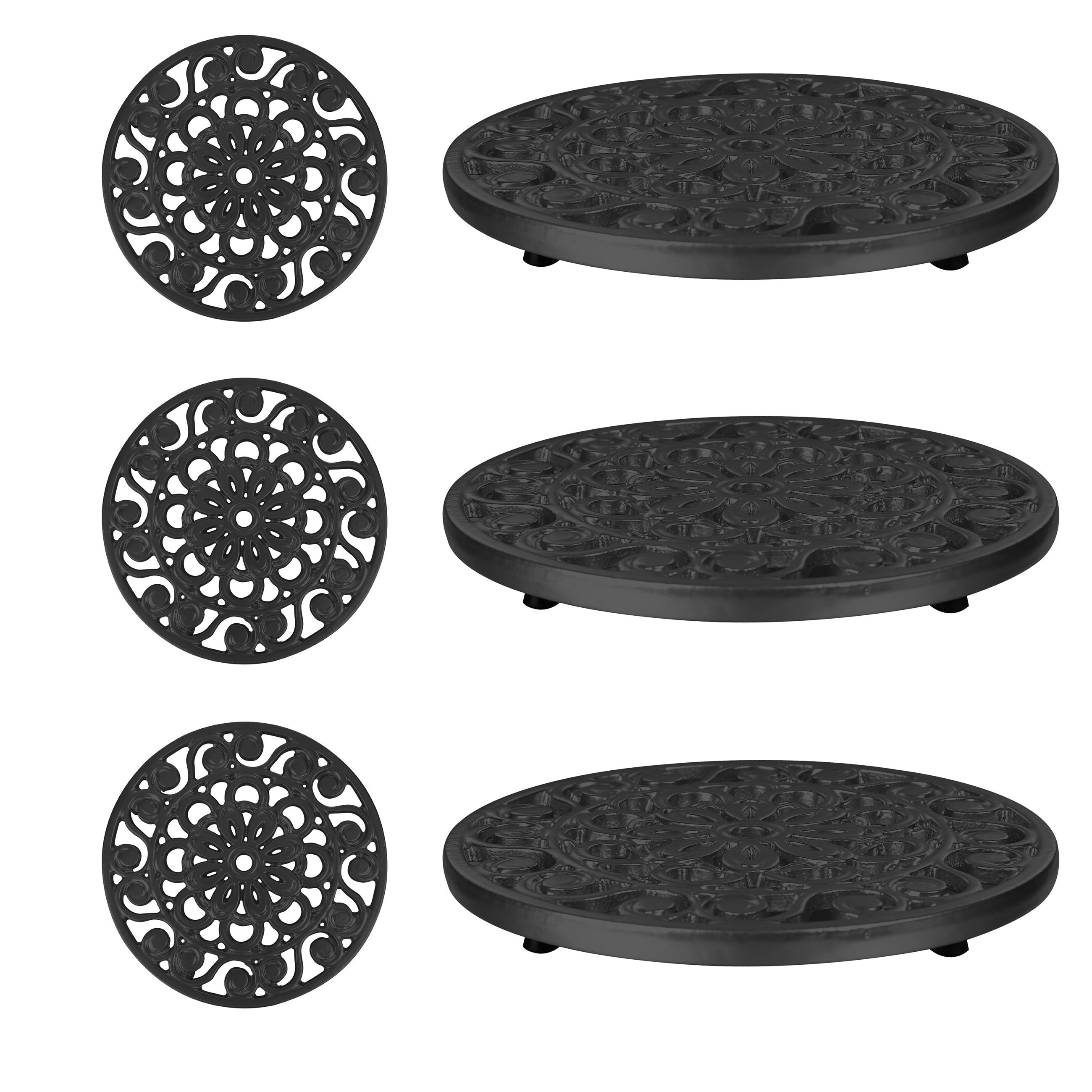 Trademark Innovations Decorative Black Cast Iron Metal Trivets Set Of 3 Overstock 13741534