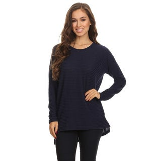 Women's Navy Ribbed Knit Top