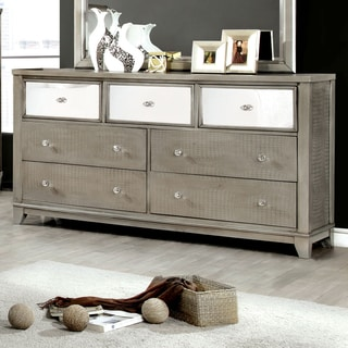Furniture of America Divonne Modern Crocodile Silver 7-drawer Dresser