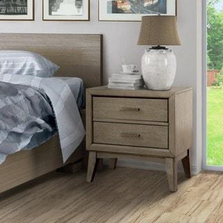 Furniture of America Hosh Mid-century Modern Grey 2-drawer Nightstand