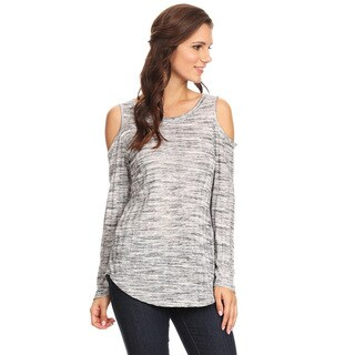 Women's 2-tone Fabric Grey Rayon, Spandex Top with Shoulder Cutouts