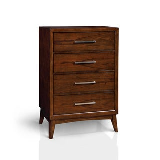 Furniture of America Kasten Brown Cherry 4-drawer Mid-century Style Chest
