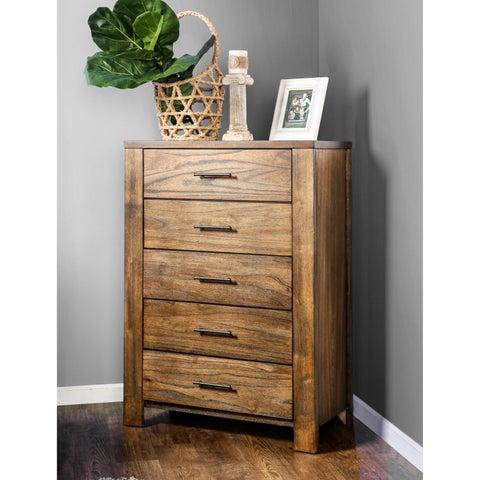 Furniture of America Casso Rustic Oak 5-drawer Chest
