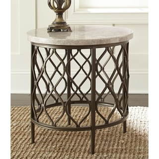 Marvelous Rockvale Stone Top Round End Table By Greyson Living