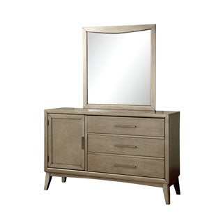 Furniture of America Meric Mid-century Modern 2-piece Grey Dresser and Mirror Set