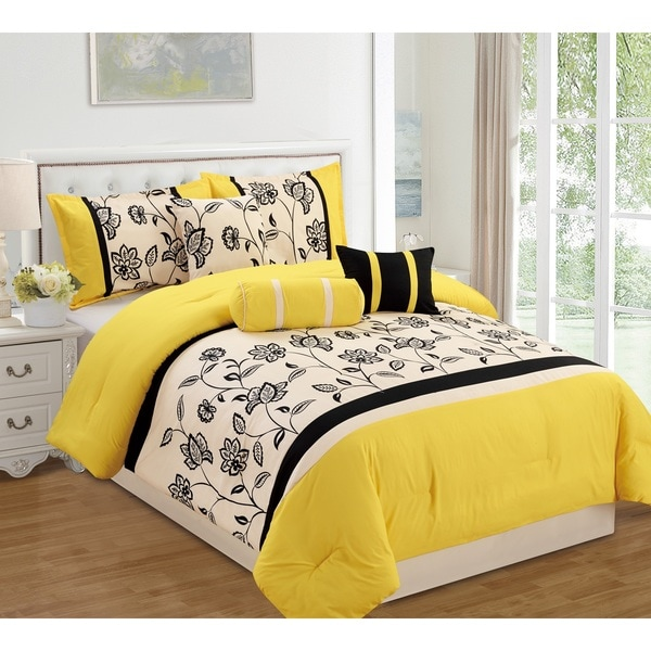 Bedroom Furniture Sets White Bedroom Yellow Colour Bedroom Ideas To Save Space Bedroom Art Ideas: Shop Yesmina Yellow 7 Piece Comforter Set