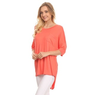 Women's Solid Button Trim Back Tunic