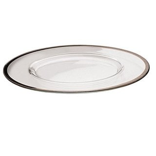 Majestic Gifts Glass Platinum Rim Charger Plates (Set of 2)