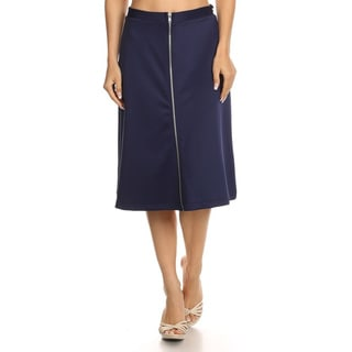 Women's Solid Blue Polyester and Spandex Full-zipper-front High-waist A-line Skirt