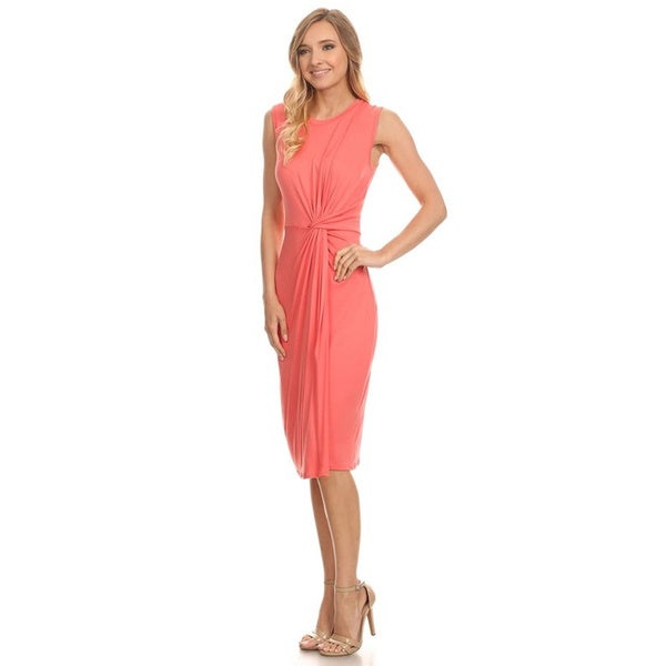 Women's Solid Sleeveless Midi Dress 22789574