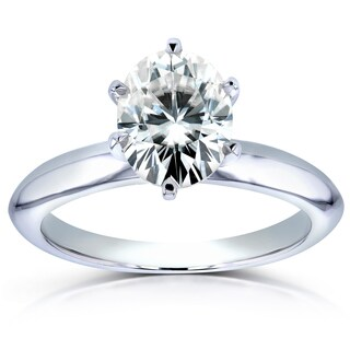 Annello by Kobelli 14k White Gold 1 1/2ct Oval Moissanite (HI) Solitaire Engagement Ring