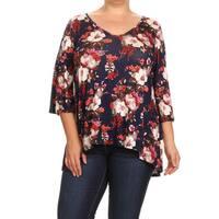 Women's Plus Size Rayon, Spandex Floral Tunic