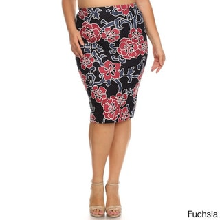 Women's Polyester and Spandex Plus-size Floral Embroidery Pencil Skirt