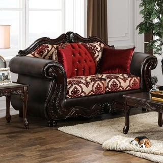 Furniture of America Keysha Formal Button Tufted Two-Tone Loveseat