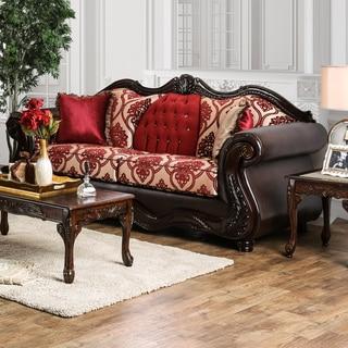 Furniture of America Keysha Formal Button Tufted Two-Tone Sofa