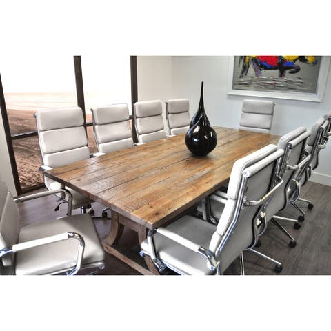 SOLIS Ligna Conference Set 11-piece Solid Wood Table with White Bonded Leather Office Chairs