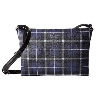 Kate Spade New York Hawthorne Lane Plaid Carolyn Diver Blue Crossbody Handbag